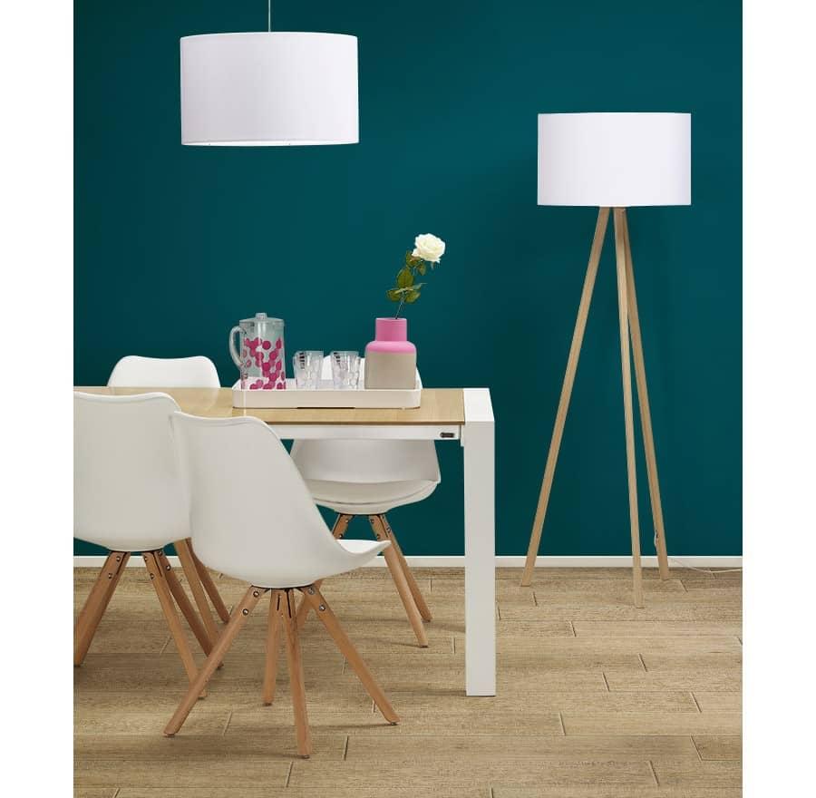 Ensemble Chaise blanche Nordica + table + lampe suspendue + lampe sur pied design Scandinave Techneb shop