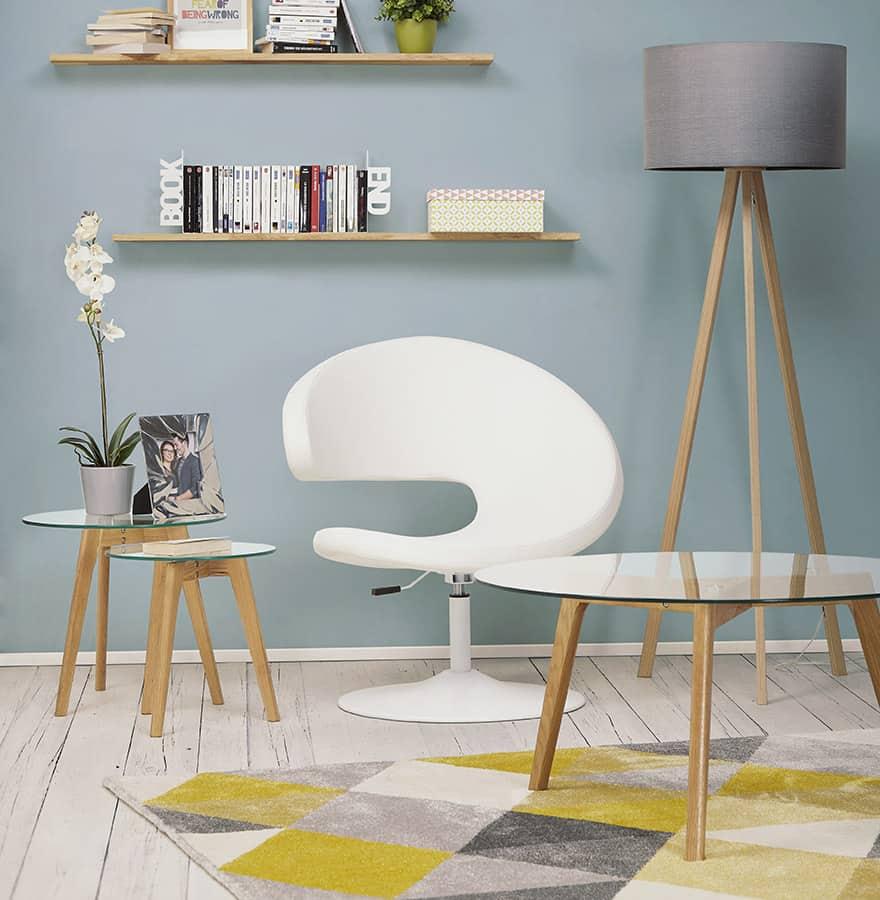 Lampe sur pied scandinave Trani + Chaise blanche design + Table basse photo + Tapis, ensemble Techneb shop