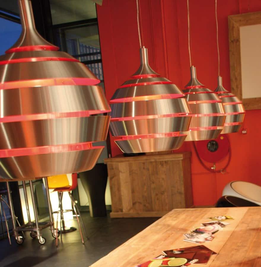 Lampe suspendue design TROGON en métal (rouge et argent)