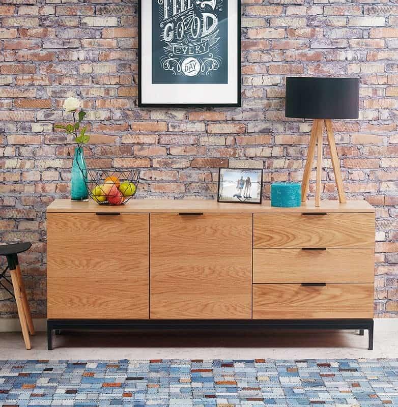 Buffet enfilade design 2 portes 3 tiroirs AGATHE en bois (chêne naturel)