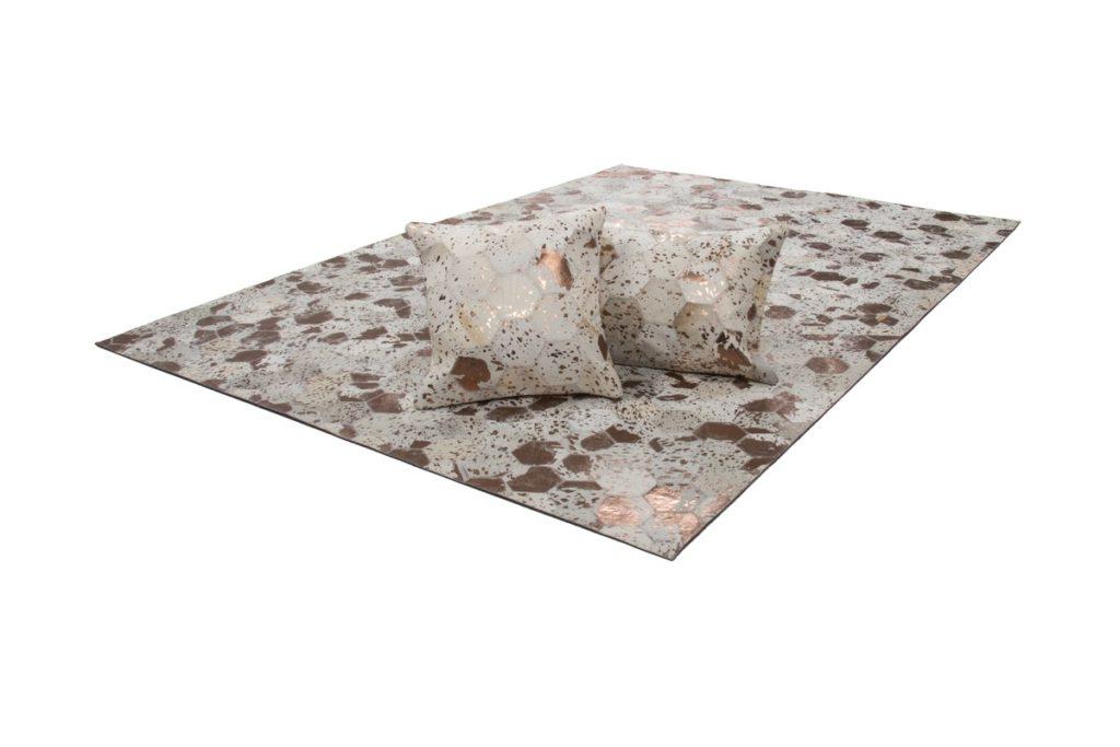 Coussin 100% cuir DETROIT rectangulaire fait main (Ivoire mordoré)