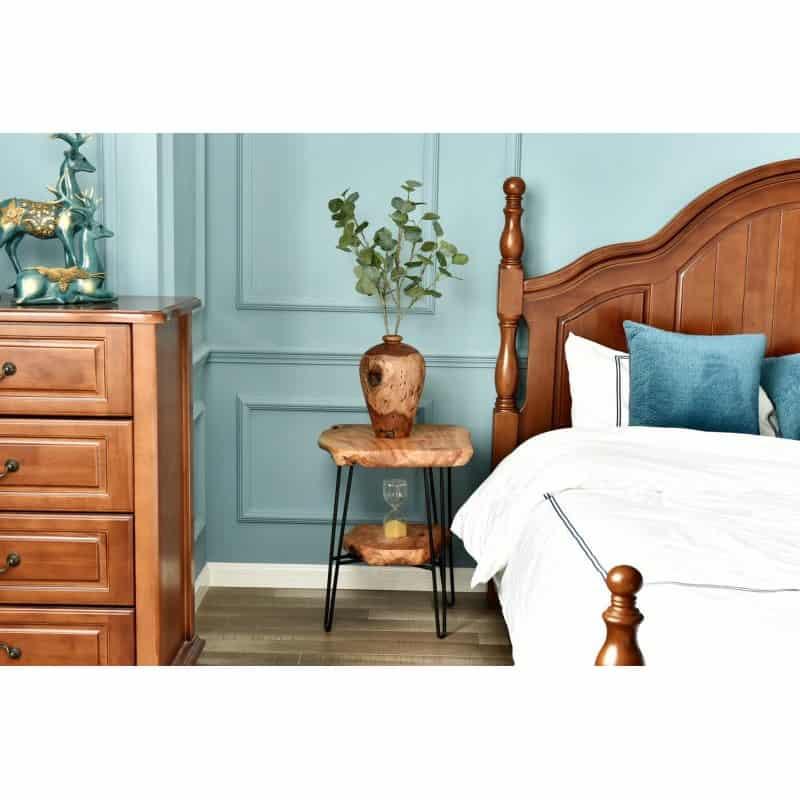 Table d'appoint double plateaux, bout de canapé MYRIAMME en métal et bois de cèdre (Naturel)