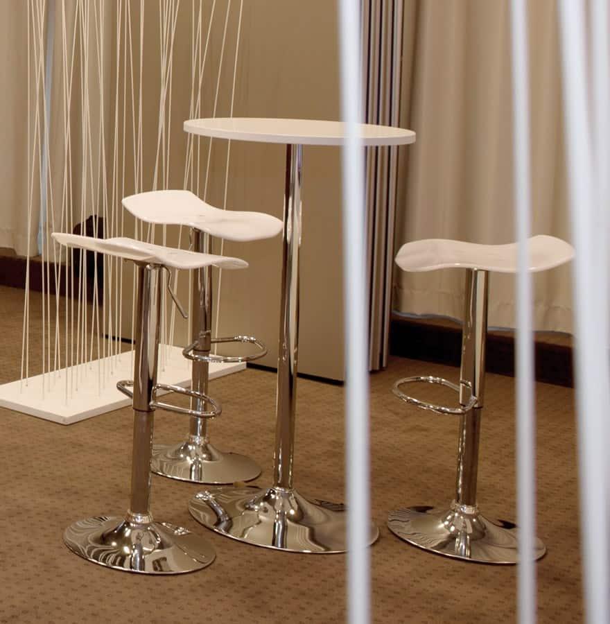 Table haute d'appoint BALEARE en bois et métal chromé (Ø 60 cm) (blanc)