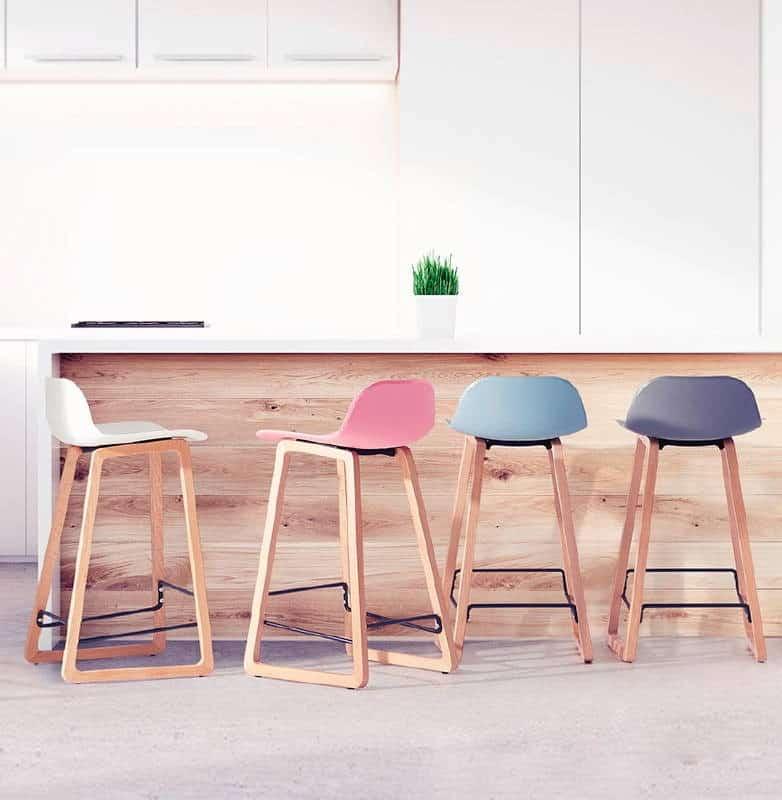Tabouret de bar chaise de bar mi-hauteur scandinave SCARLETT MINI (gris clair)