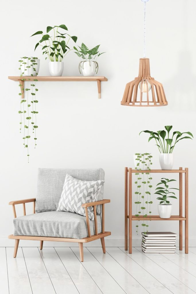 Lampe à suspension scandinave en bois H 39 cm Ø 41 cm TIYA (naturel)