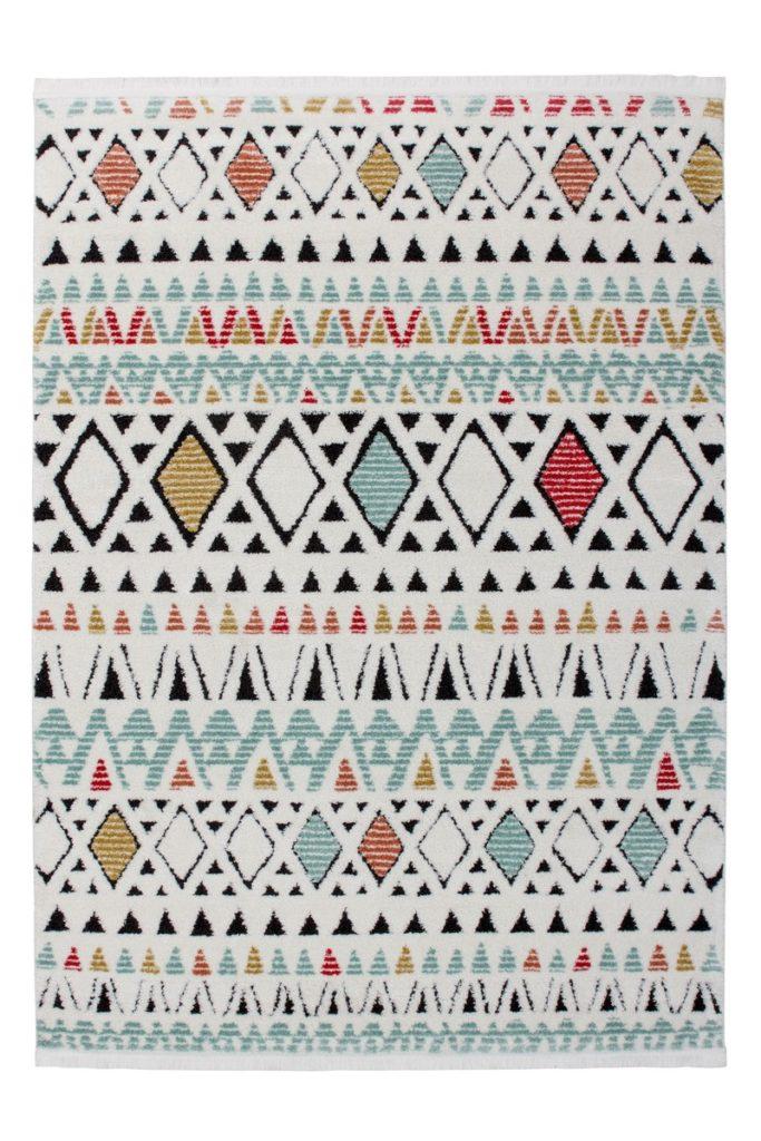Tapis ethnique NADOR rectangulaire tissé à la machine (Blanc Multicolore)