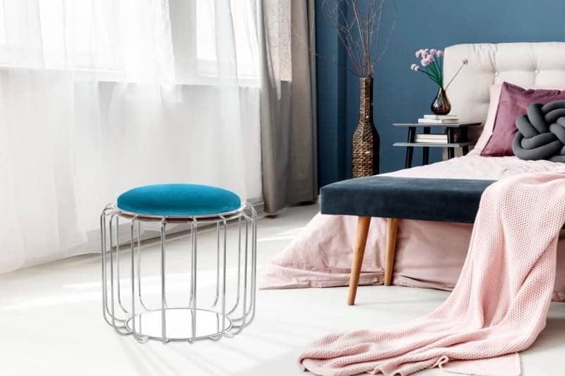 Pouf, table d'appoint FAUVE en velours (Bleu clair, Argent)