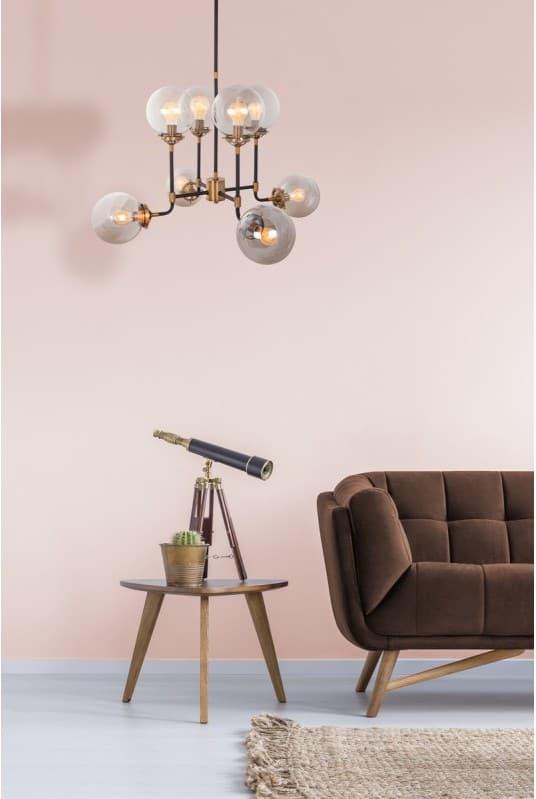 LAMPE À SUSPENSION DESIGN EN MÉTAL H 100 CM Ø 75 CM CATELINE (NOIR)