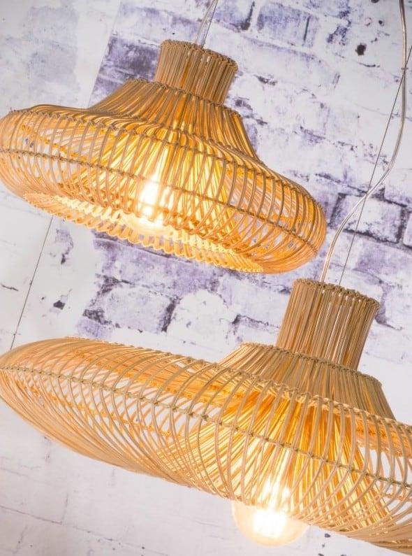LAMPE À SUSPENSION EN ROTIN KALAHARI XL 2 ABAT-JOURS (NATUREL)