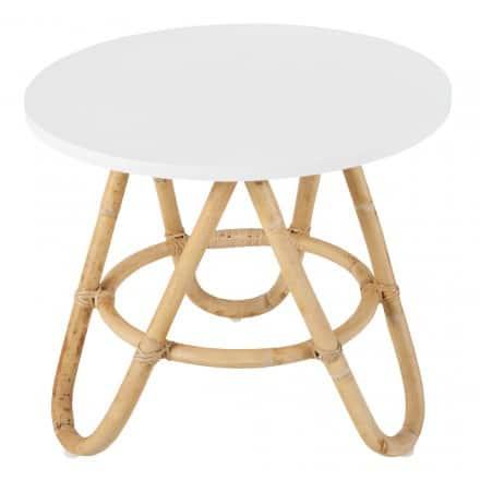 TABLE BASSE, BOUT DE CANAPÉ DIABOLO EN ROTIN (Ø 60 CM) (BLANC)
