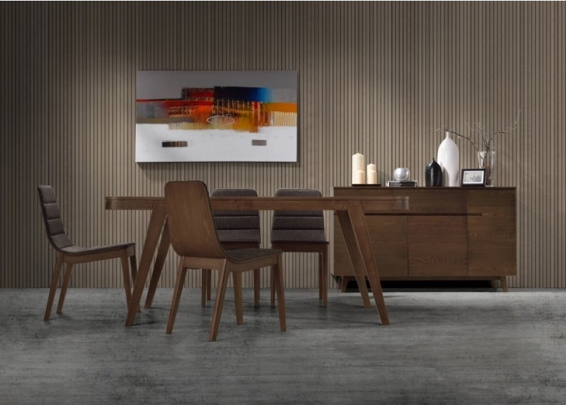 TABLE À MANGER SCANDINAVE ET VINTAGE LOEVA EN BOIS (180CMX90X75CM) (NOYER)