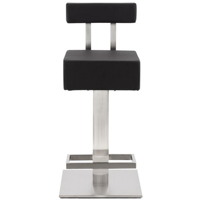 tabouret design carr 233 escault mini en simili cuir et acier bross 233 inoxydable noir