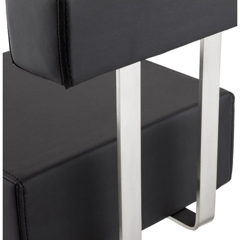 Tabouret design carr noble mini en simili cuir et acier - Cuir au metre carre ...