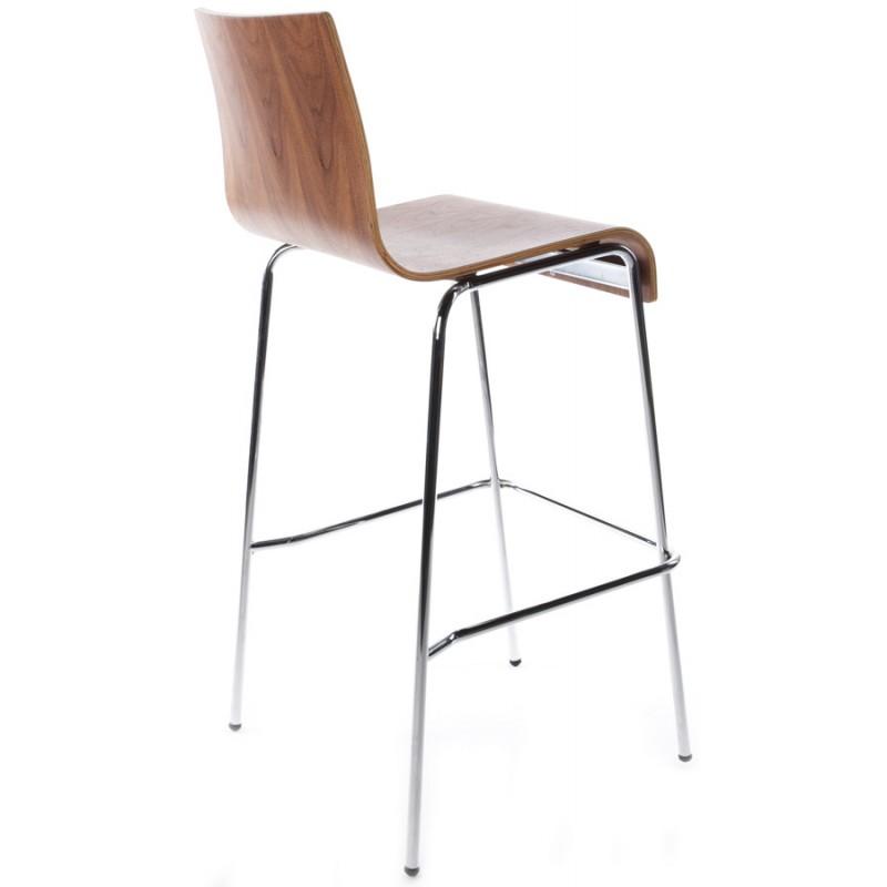 tabouret de bar saone en bois et m tal chrom noyer. Black Bedroom Furniture Sets. Home Design Ideas