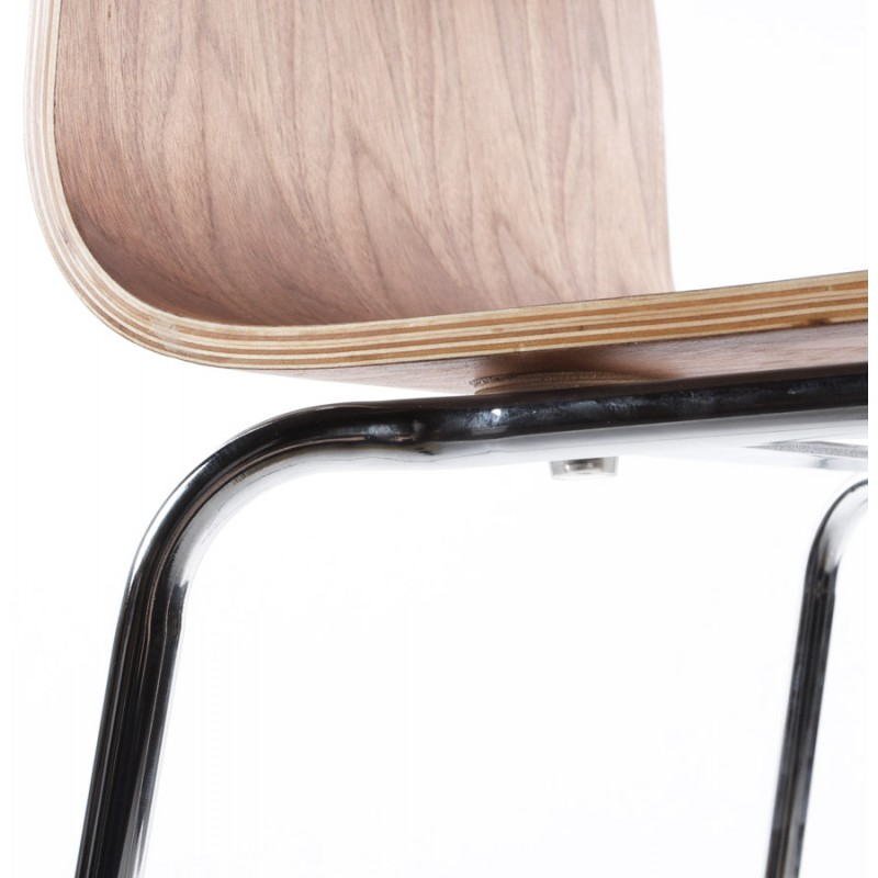 saone stool made of wood and chrome metal walnut. Black Bedroom Furniture Sets. Home Design Ideas