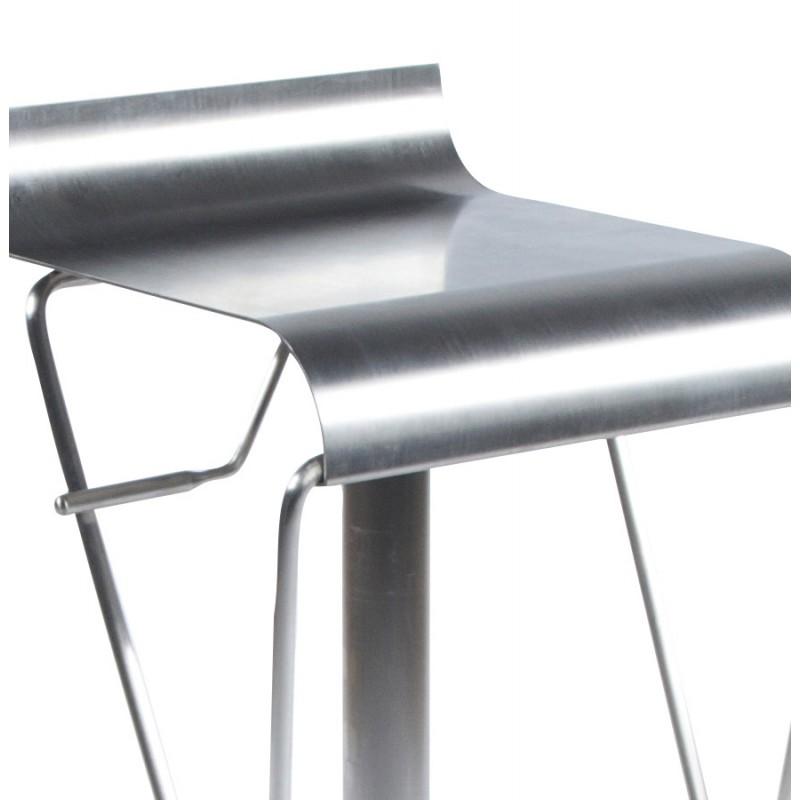 Tabouret de bar en acier bross - Slide Industriel - Pieds : tables