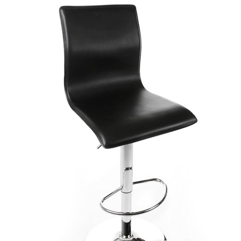 Tabouret de bar marne en simili cuir noir mobilier design au meilleur rappo - Tabouret de bar simili cuir ...