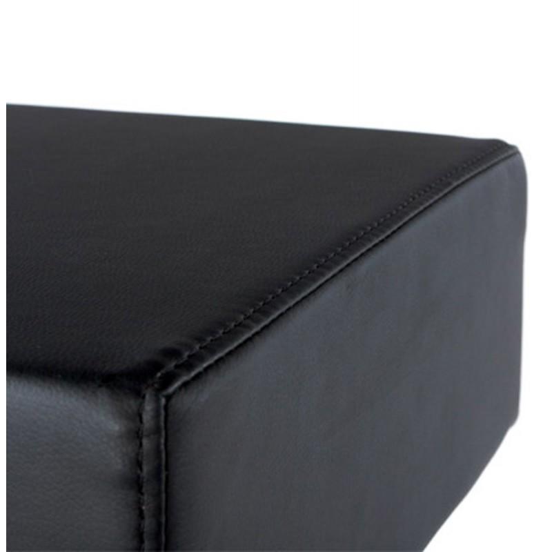 Tabouret de bar design oise en simili cuir et acier bross inoxydable noir - Tabouret de bar simili cuir noir ...