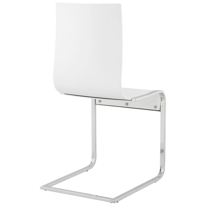 Chaise moderne durance en bois et m tal chrom blanc - Chaise en bois moderne ...
