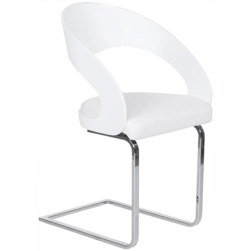Chaise design mona en bois laqu et simili cuir blanc fran ais french - Chaise bois et simili cuir ...