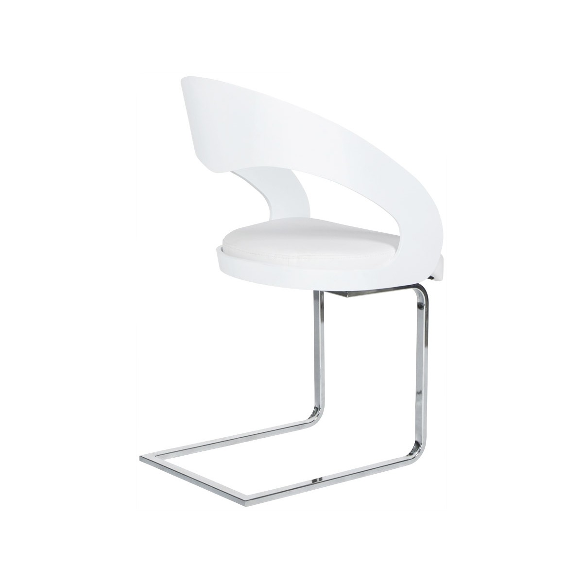 Chaise Bois Et Blanc - LOING design chair in lacquered wood and leatherette (white) (English (English))