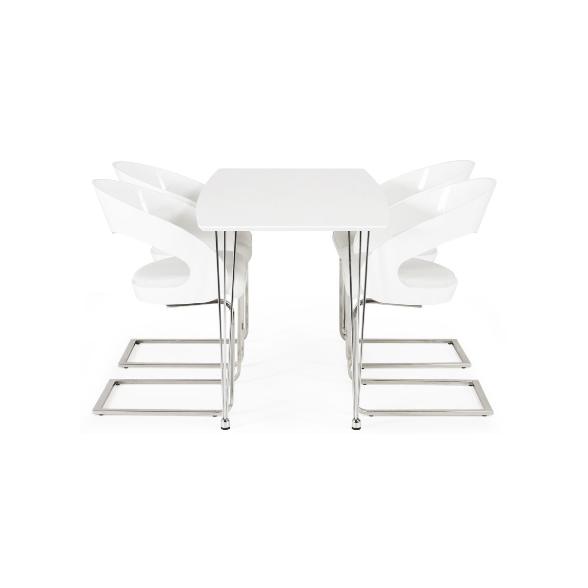Loing design chair in lacquered wood and leatherette white english english - Chaise simili cuir blanc ...