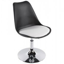 Chaise design VICTORIA en simili cuir et métal chromé (noir et blanc)