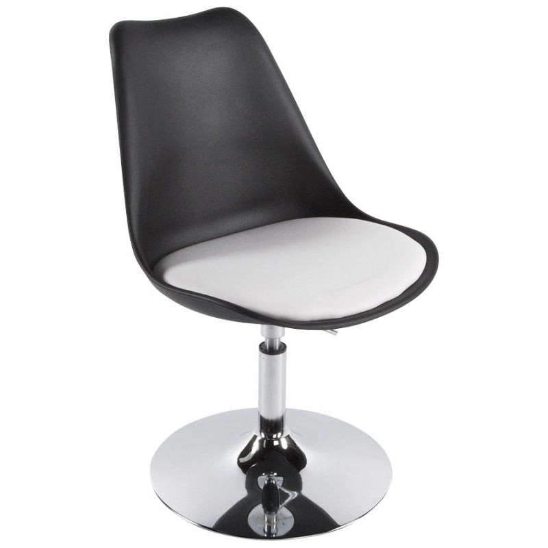 chaise design aisne en simili cuir et m tal chrom noir et blanc. Black Bedroom Furniture Sets. Home Design Ideas