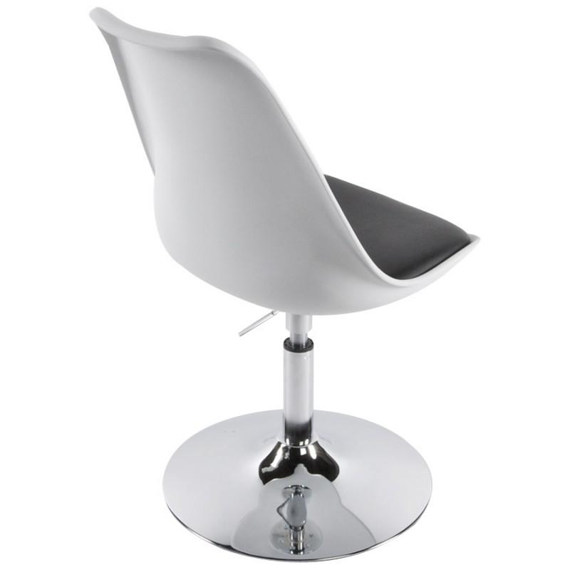Chaise design aisne en simili cuir et m tal chrom blanc et noir - Chaise noir et blanc design ...