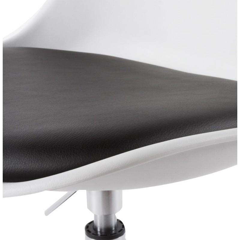 Chaise design aisne en simili cuir et m tal chrom blanc et noir - Chaise design noir et blanc ...