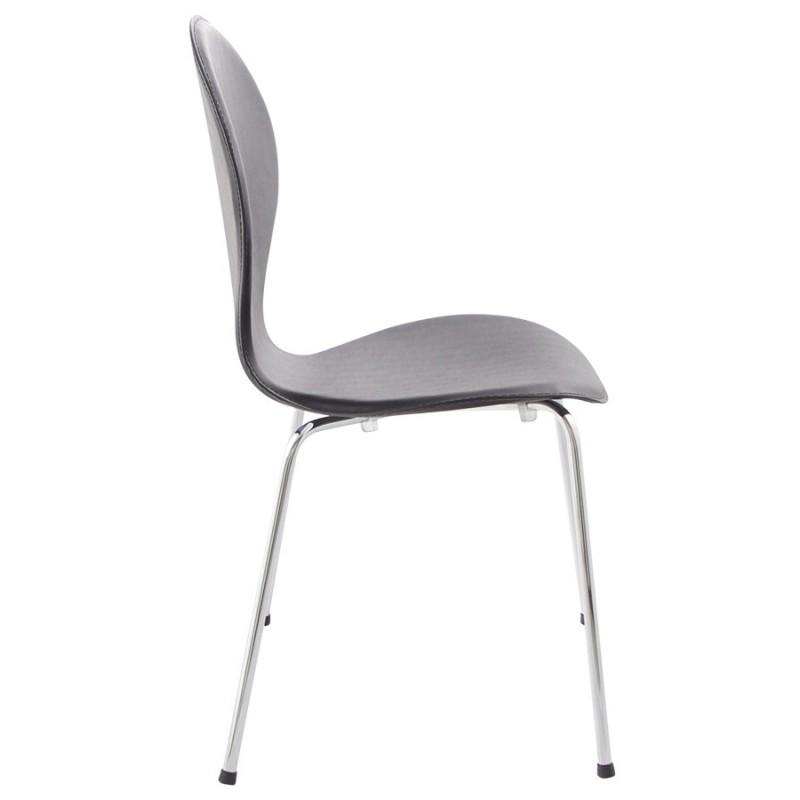 chaise contemporaine arroux en simili cuir et m tal chrom noir fran ais french. Black Bedroom Furniture Sets. Home Design Ideas