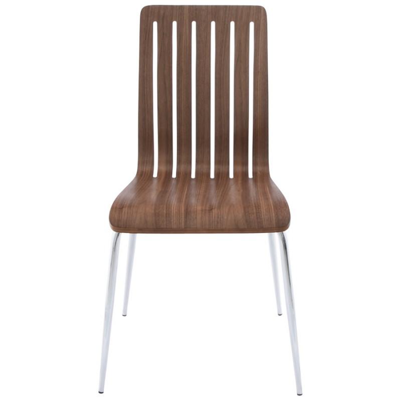 Chaise contemporaine sorgue en bois et m tal chrom noyer - Chaise contemporaine bois ...