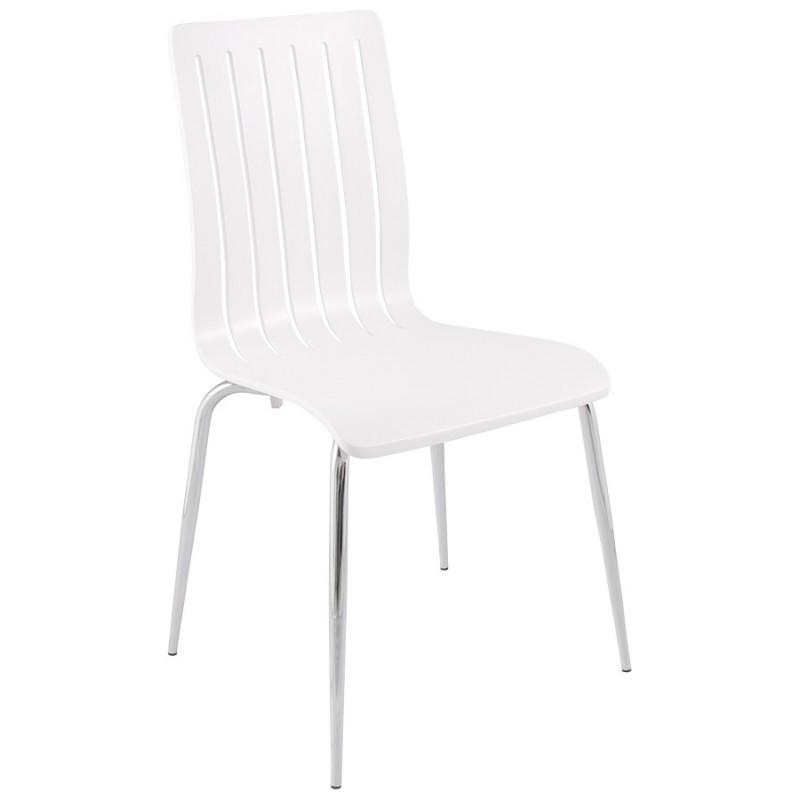 Chaise contemporaine sorgue en bois et m tal chrom blanc - Chaise contemporaine bois ...