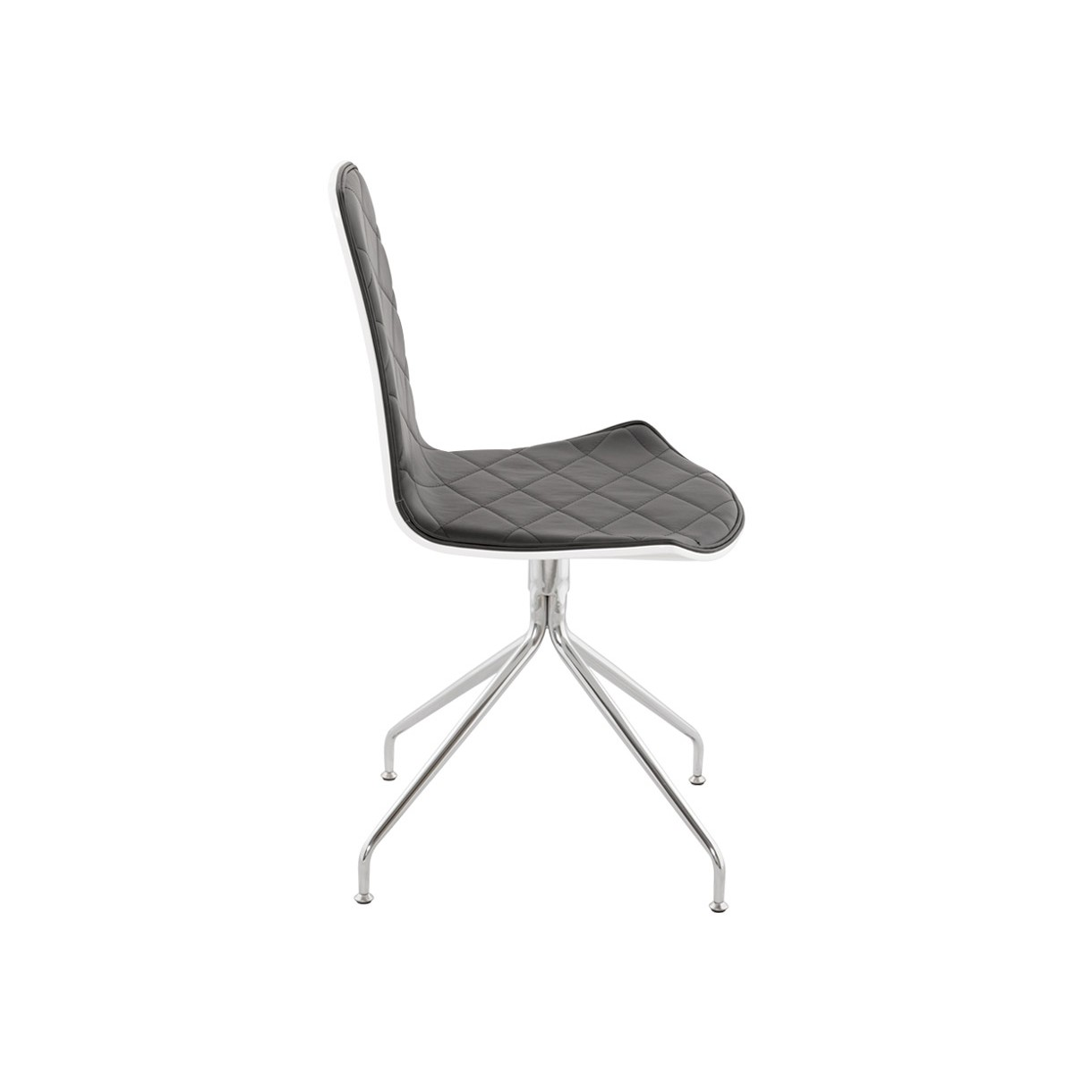 Sioule contemporary chair in faux leather and chrome metal white and black - Chaise simili cuir noir ...