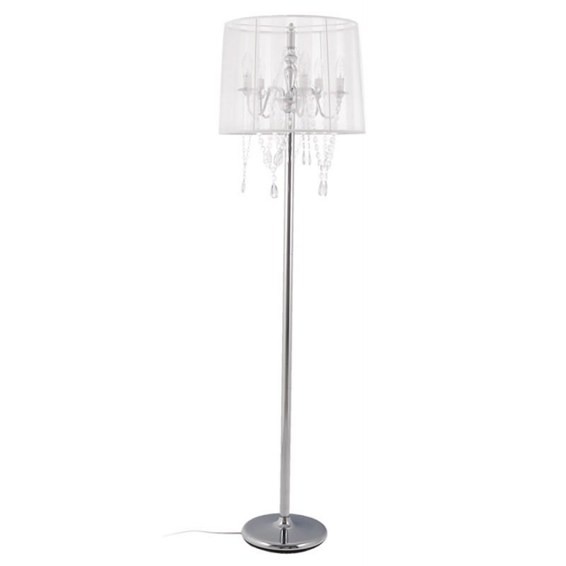 lampe sur pied design merion en acier chrom blanc. Black Bedroom Furniture Sets. Home Design Ideas