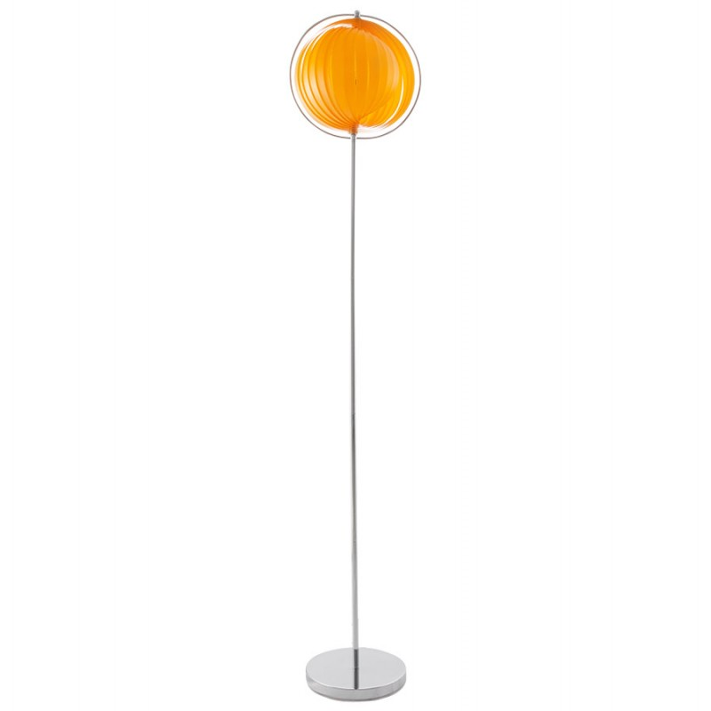 Lampe sur pied design barbican big en acier chrom orange for Lampe a pied design