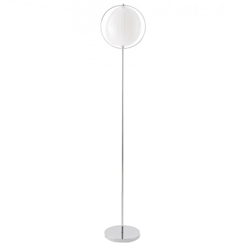 Lampe sur pied design barbican big en acier chrom blanc for Lampe design sur pied