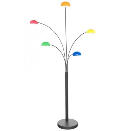 lampe sur pied design 5 abat jours rollier en m tal peint multicolore fran ais french. Black Bedroom Furniture Sets. Home Design Ideas