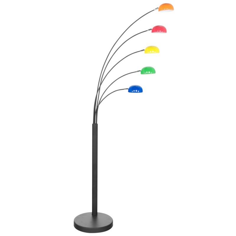 Lampe sur pied design 5 abat jours rollier en m tal peint for Lampe sur pied design