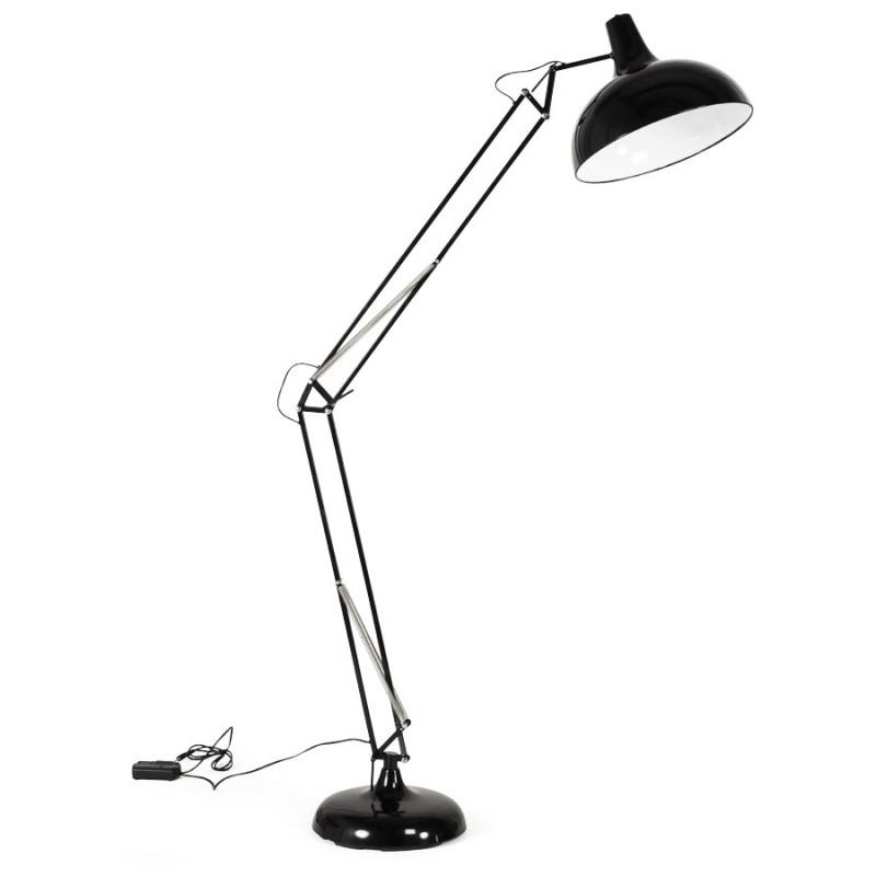 lampe sur pied design rollier en m tal noir mobilier design au meilleur rapport qualit prix. Black Bedroom Furniture Sets. Home Design Ideas