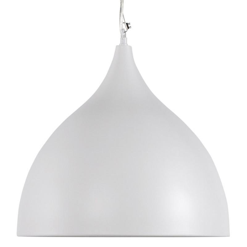 Lampe suspension design paon en m tal blanc - Suspension metal blanc ...