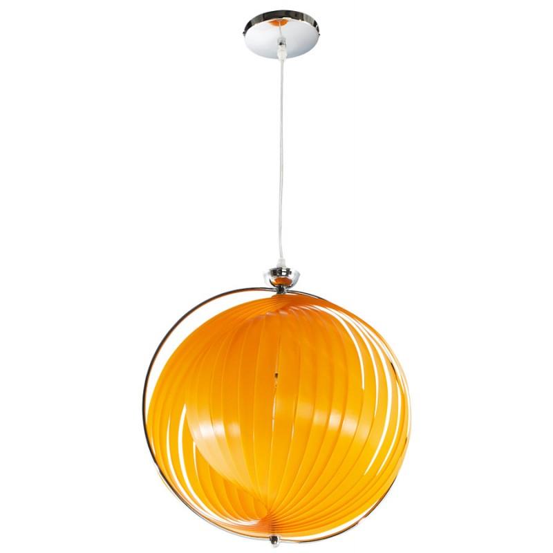Lampe suspension design moineau en m tal orange - Lampe suspension design ...