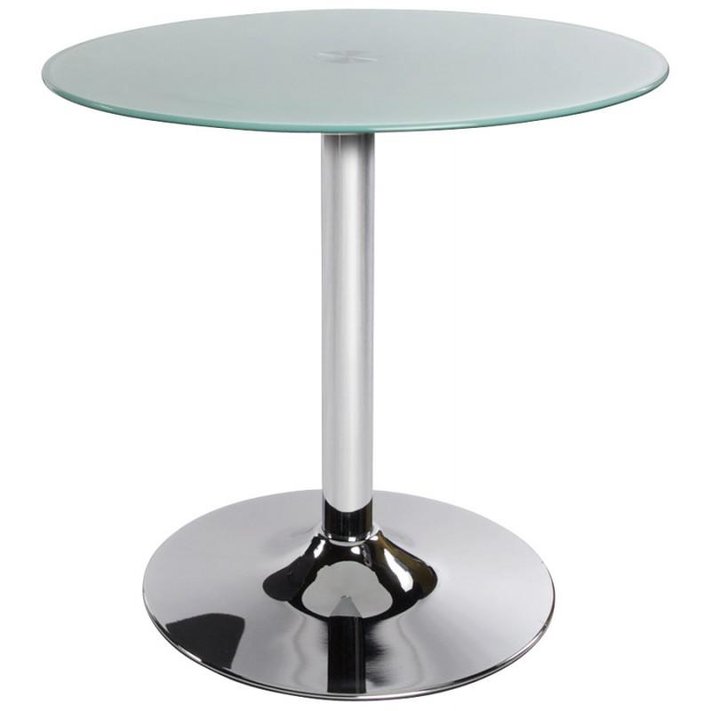 Mesa redonda vinyl metal y vidrio templado blanco for Vidrio templado mesa
