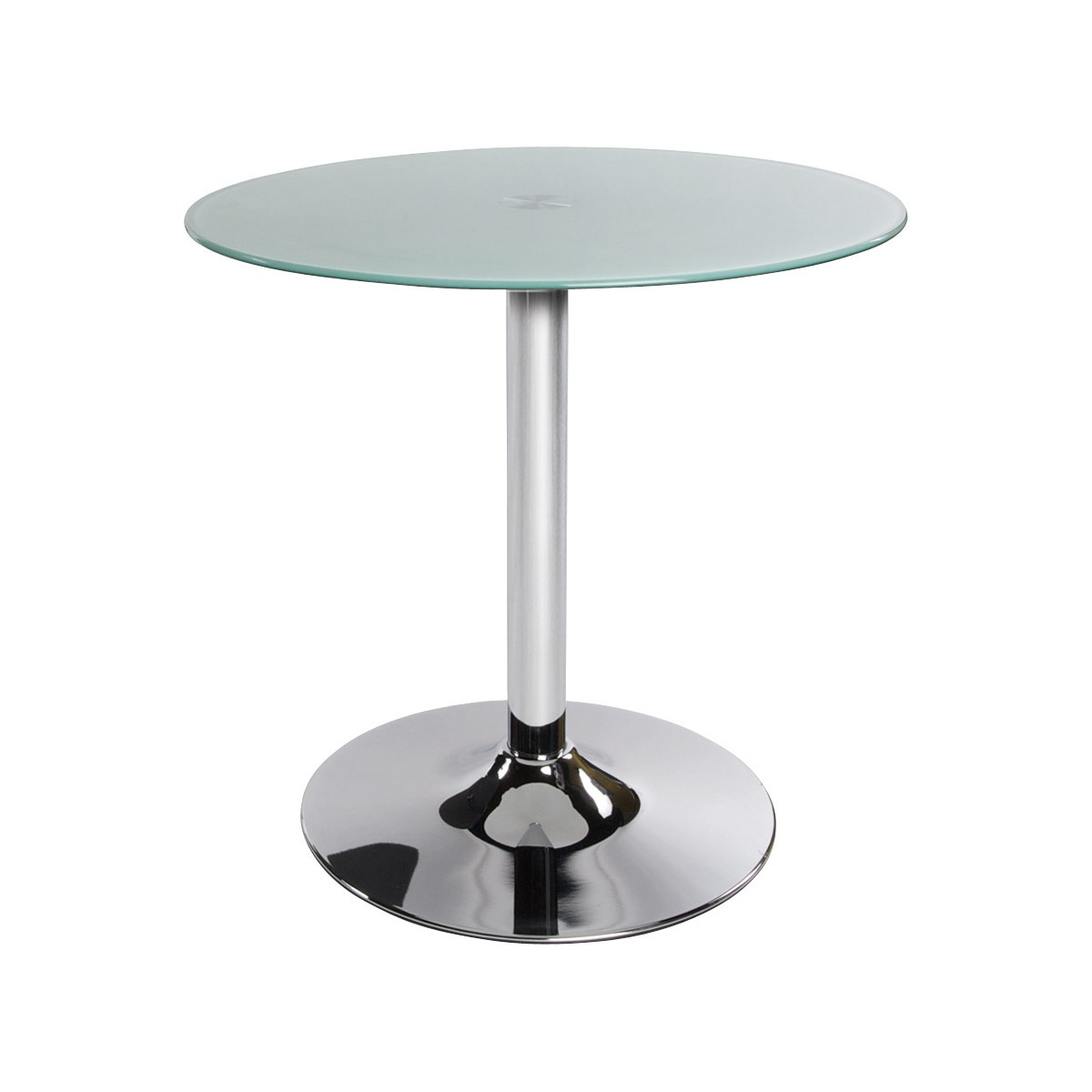 Table ronde vinyl en m tal et verre tremp blanc fran ais french - Table ronde verre trempe ...