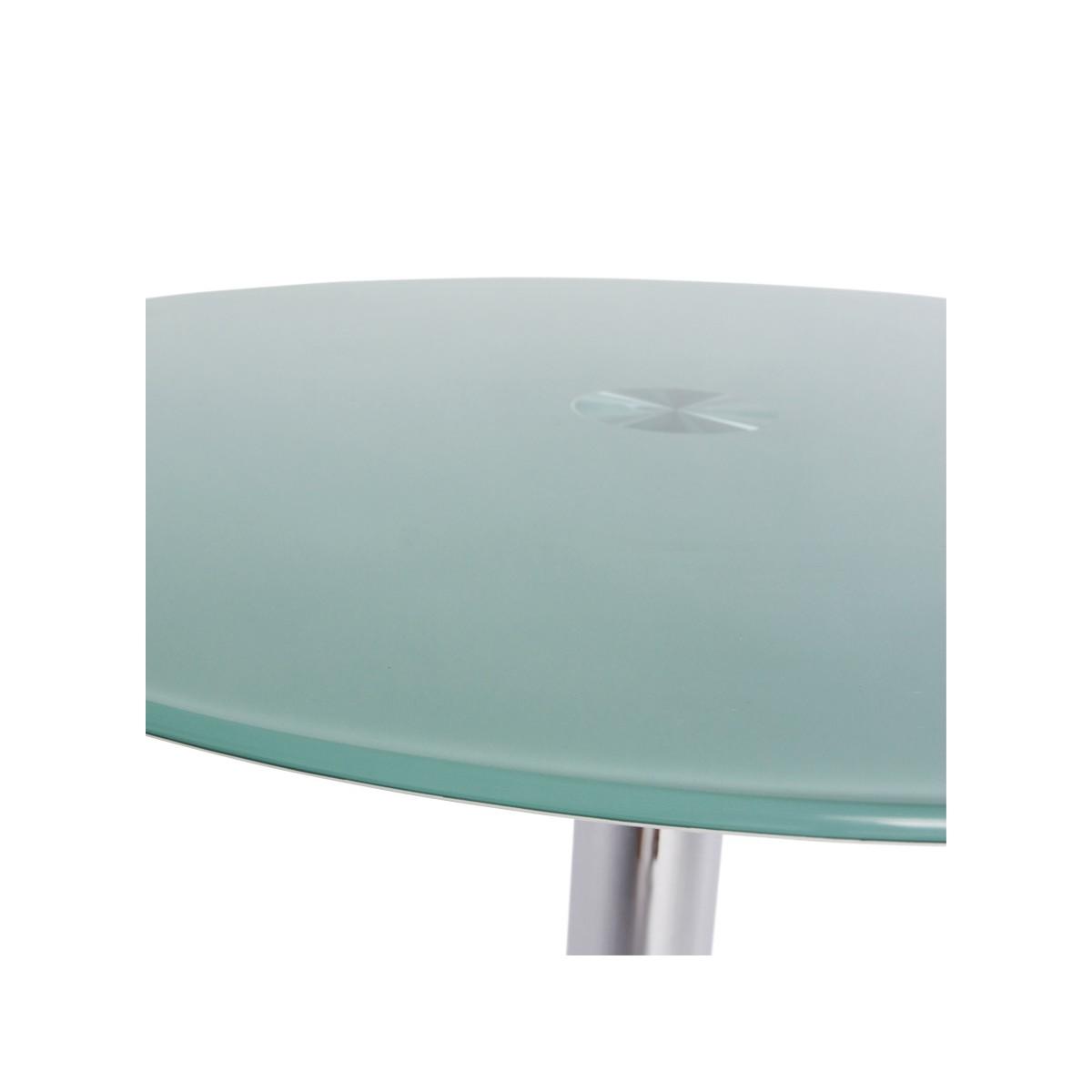 table ronde vinyl en m tal et verre tremp blanc fran ais french. Black Bedroom Furniture Sets. Home Design Ideas