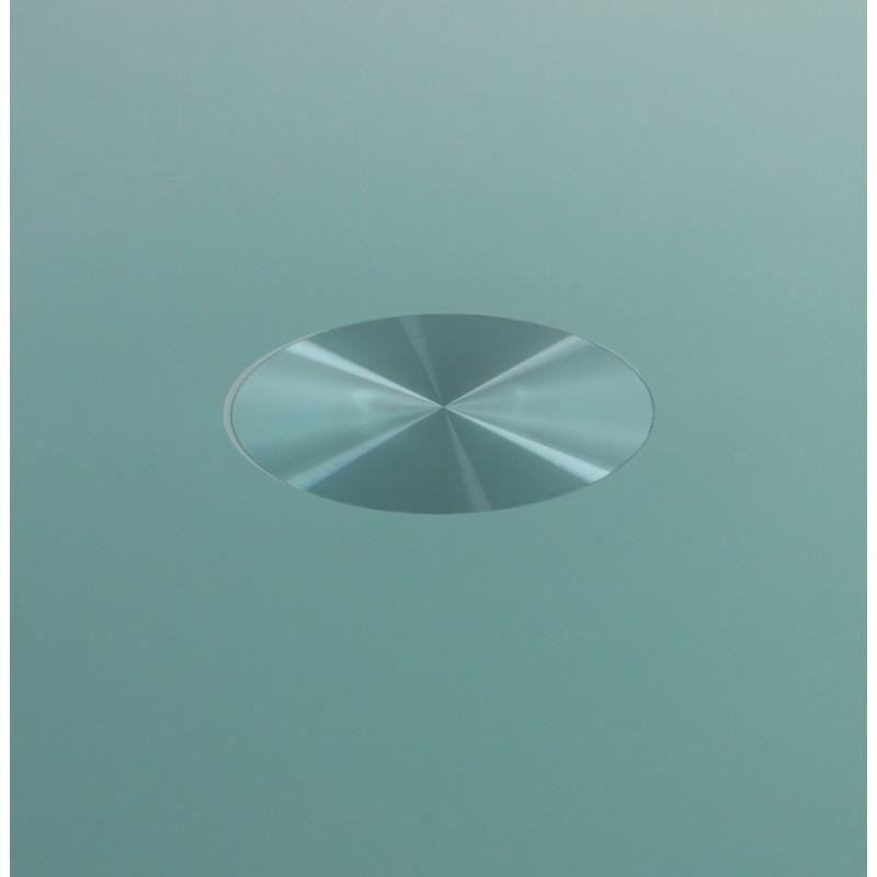 Table ronde vinyl en m tal et verre tremp blanc - Table ronde en verre trempe ...