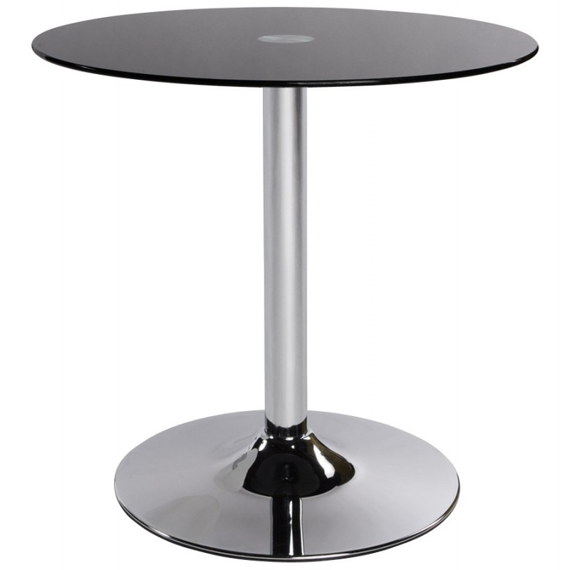 Table ronde vinyl en m tal et verre tremp noir fran ais french - Table ronde verre trempe ...