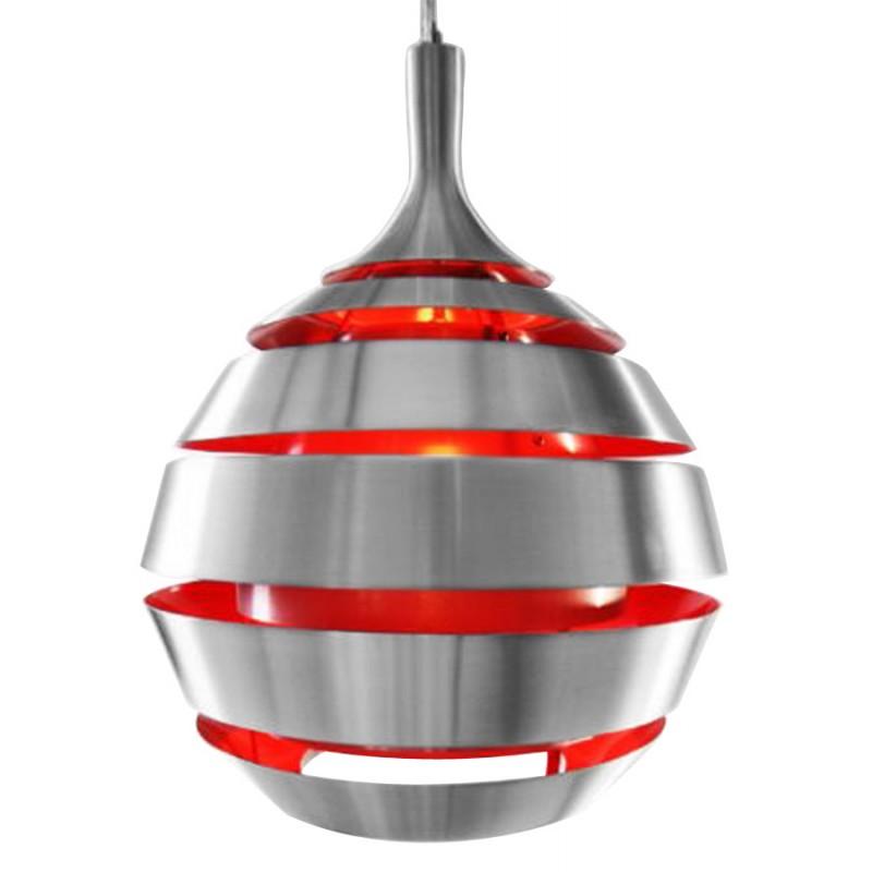 Lampe suspendue design trogon en m tal rouge et argent for Lampe suspendue design