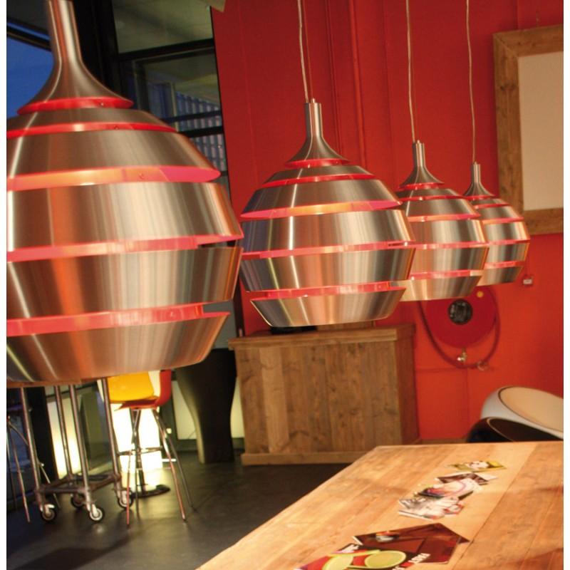 lampe suspendue design trogon en m tal rouge et argent. Black Bedroom Furniture Sets. Home Design Ideas