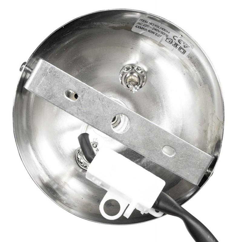lampe suspendue design motmot 4 boules en acier chrom blanc. Black Bedroom Furniture Sets. Home Design Ideas